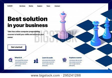 Website Providing The Service Of Best Solution In Your Business. Concept Of A Landing Page For Best