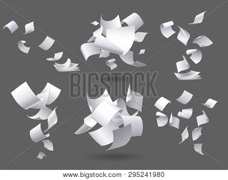 Falling Paper Sheets. Flying Papers Pages, White Sheet Documents And Blank Document Page On Wind Iso