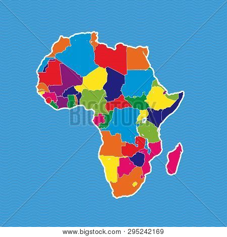 Africa Political Map. Colorful Map Separated On Blue Wave Water Background.