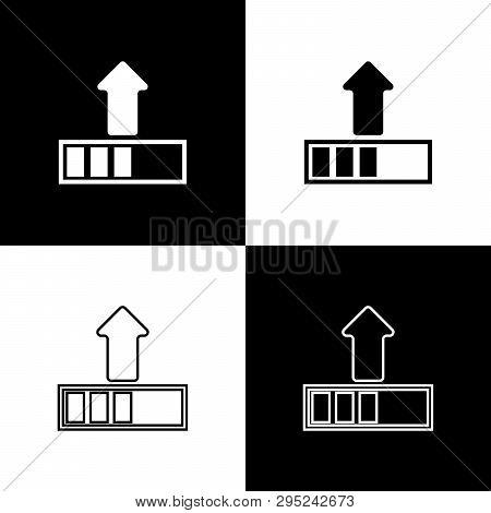Set Loading Icons Isolated On Black And White Background. Upload In Progress. Progress Bar Icon. Lin