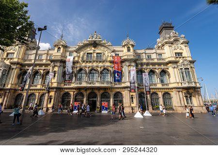 Barcelona, Spain - June 9, 2014: The Old Customs Building Of The Port Of Barcelona (port Vell), Cata