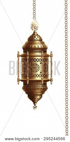 Illustration Of Traditional Arabian Lantern On White Background .eps 10 Contains Transparency.