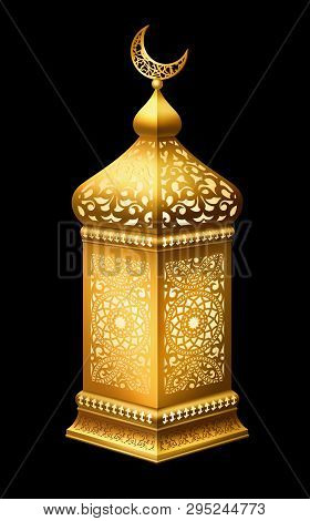 Illustration Of Traditional Arabian Lantern With Lighting On Black Background. Eps 10 Contains Trans
