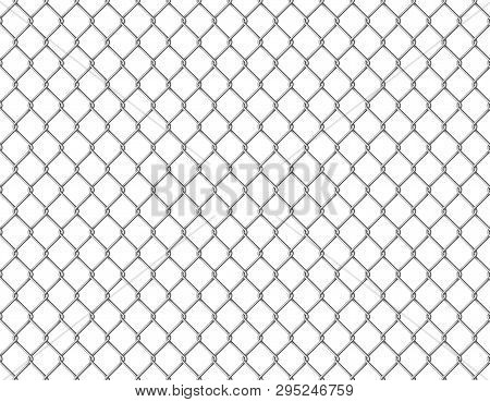 Fence Chain Seamless. Metallic Wire Link Mesh Metal Seamless Pattern Prison Barrier Secured Property