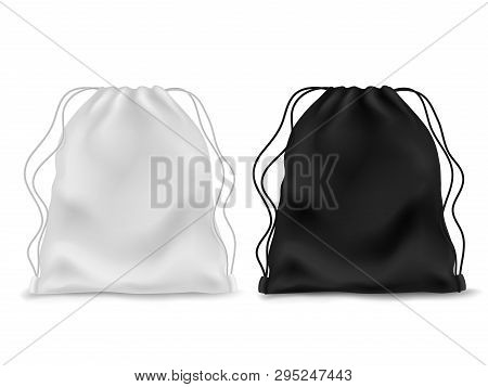 Realistic Knapsack. Black White Blank Backpack. Sports Bag, School Textile Rucksack, Pack Pouch 3d A
