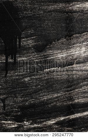 Smudges Of Black Paint On A Metallic Textured Background, Anti-corrosion Protection, Decorating With