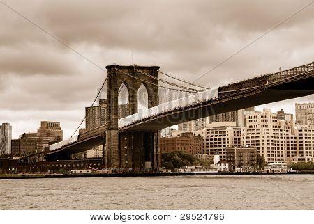 Brooklyn Bridge looking towards Brooklyn with vintage sepia color