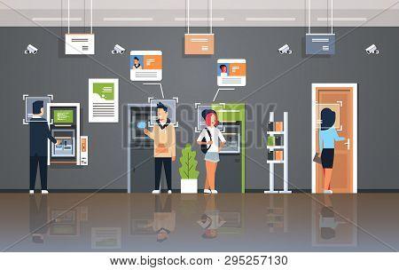 People Withdrawing Money Atm Cash Machine Identification Surveillance Cctv Facial Recognition Concep