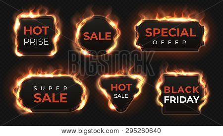 Realistic Fire Labels. Hot Deal And Sale Offer Text Banners With Shiny Flame Effect, Isolated Design