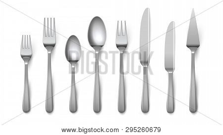 Realistic Cutlery. Silverware Fork Knife Spoon Isolated On White Background, Stainless Steel Tablewa