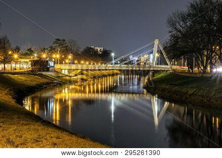 Illuminated Bridge Over The River, Nitra, Slovak Republic. Night Scene. Architectural Theme.
