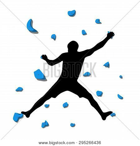 Man Climbs On A Climbing Wall In A Climbing Gym Isolated On A White Background. Vector Illustration.