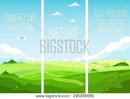 Ecotourism And Countryside Vacation. Rural Landscape With Green Hills And Blue Sky In Cartoon Style.