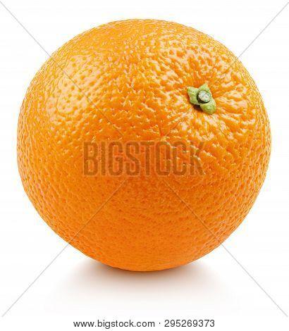 Single Ripe Whole Orange Citrus Fruit With Shadow Isolated On White Background. Full Orange With Cli