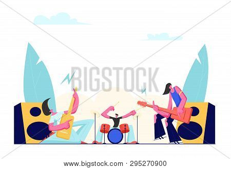 Rock Band Performing On Stage. Electric Guitarists And Drummer Music Concert. Male Artists Playing A