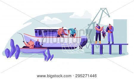 Fisherman Working On Fishery Industry On Large Boat Ship. Fishermen Catching Fish, Pulling Fishing N