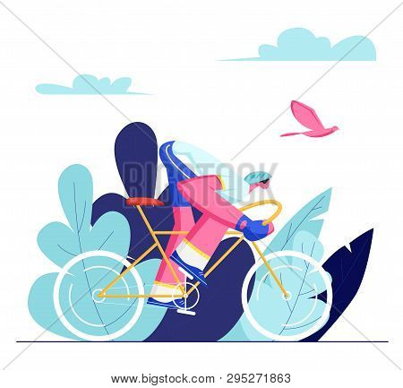 Cyclist Sportsman In Sports Wear And Helmet Riding Bike Outdoors In Summer Day. Bicycle Man Active S