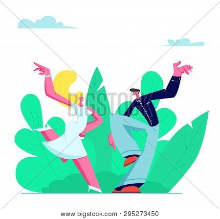 Young Couple Sparetime With Dancing Outdoors, People Active Lifestyle, Man And Woman In Loving Or Fr