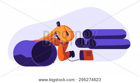 Welding Man Steel Piping In Industrial Automotive Factory. Metal Industry Worker In Protection Mask