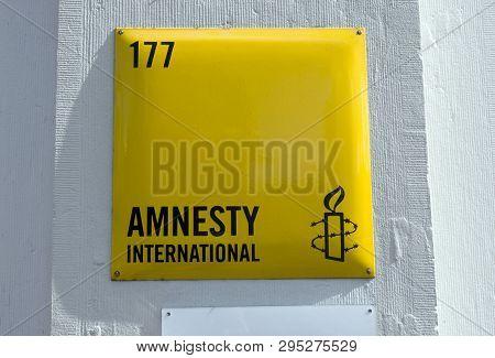 Sign Of Amnesty International In Amsterdam