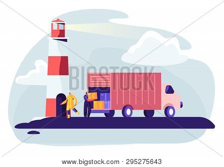 Logistics Transportation Container Ship With Industrial Truck. Import And Export In Shipping Cargo H