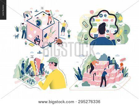 Technology 1 Set - Modern Flat Vector Concept Digital Illustration- Synergy, Cx Customer Experience,