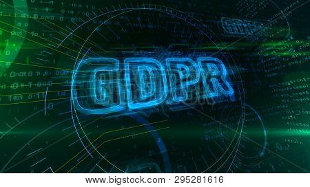 Gdpr General Data Protection Regulation Act On Digital Background. Privacy Safety In European Union