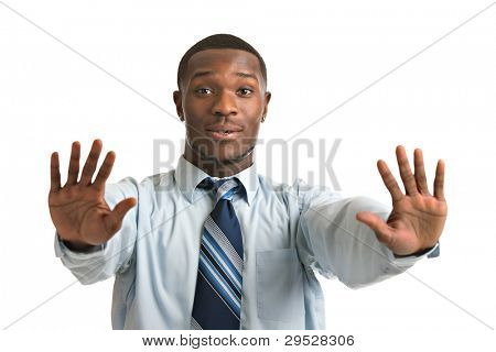 Natural Looking Worried Young African American Businessman on Isolated Background