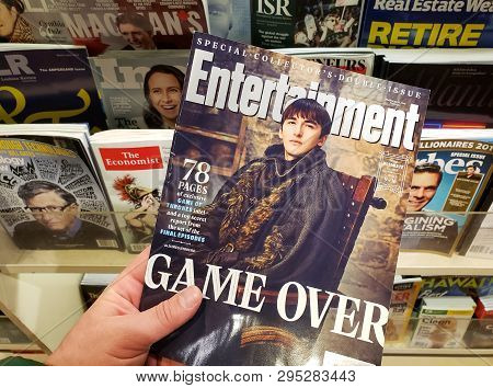 Montreal, Canada - March 28, 2019: Entertainment Weekly Special Collectors Double Issue. Game Over -