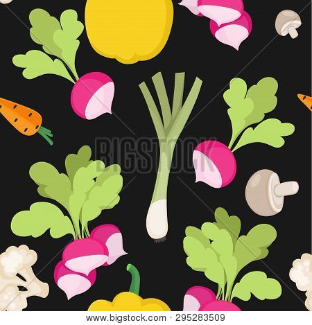 Seamless Pattern From Fresh Vegetables Radishes, Carrots, Bell Pepper, Shallots On A Black Backgroun