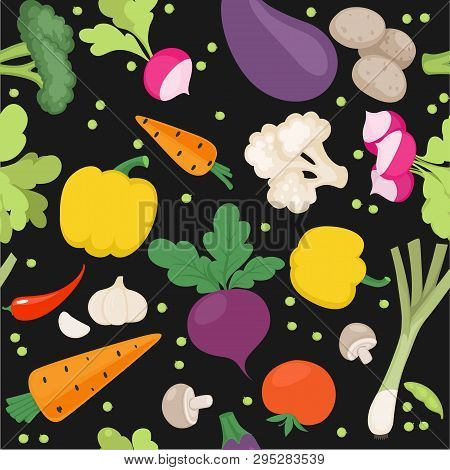 Seamless Pattern From Fresh Vegetables Radishes, Carrots, Tomatoes, Beets,  Shallots On A Black Back