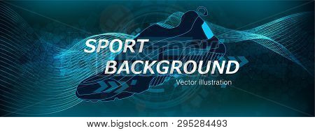 Amplitude Abstract Background With A Sneaker And Colored Dynamic Waves. Poster For Sports. Abstract