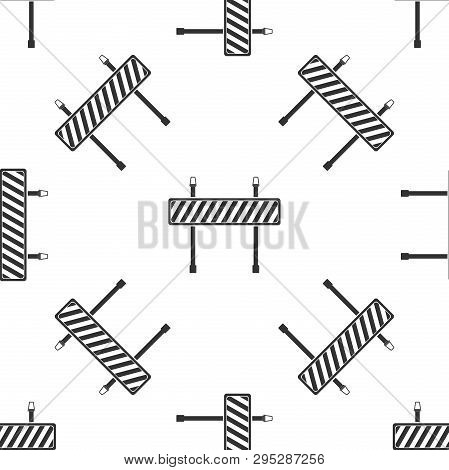 Road Barrier Icon Seamless Pattern On White Background. Symbol Of Restricted Area Which Are In Under