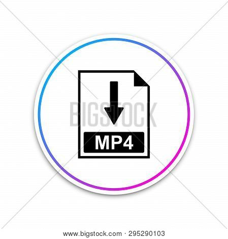 Mp4 File Document Icon. Download Mp4 Button Icon Isolated On White Background. Circle White Button.