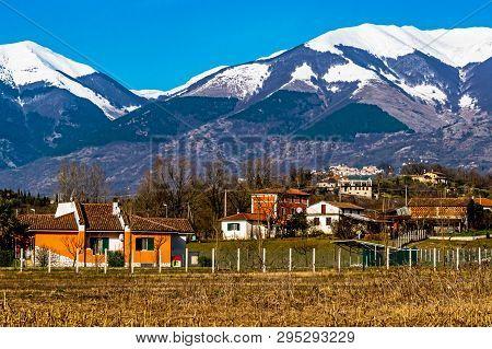 Winter Panorama Of The Italian Appennines Mountain Range In Atina,comino Valley,lazio