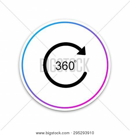 Angle 360 Degrees Icon Isolated On White Background. Rotation Of 360 Degrees. Geometry Math Symbol.