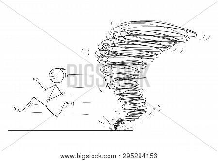 Cartoon Stick Figure Drawing Conceptual Illustration Of Man Running Away From Tornado Vortex.
