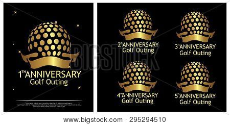 Anniversary Golf Outing Logo. Set Of Gold Icons Isolated On Black
