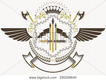 Heraldic Coat Of Arms Decorative Emblem With Bird Wings, Vector Illustration Of Royal Crown And Armo