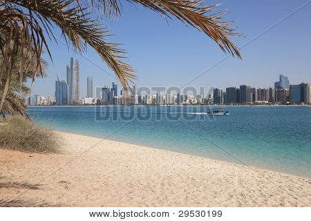 Beach And The Skyline Of Abu Dhabi