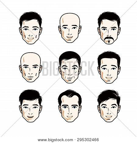 Set Of Men Faces, Human Heads. Different Vector Characters Like Brunet, Bald, With Whiskers Or Beard