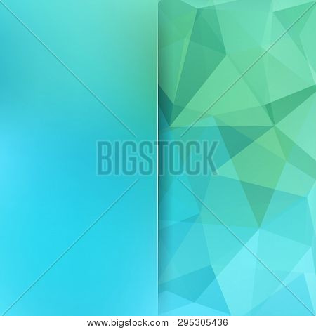 Geometric Pattern, Polygon Triangles Vector Background In Blue, Green Tones. Blur Background With Gl