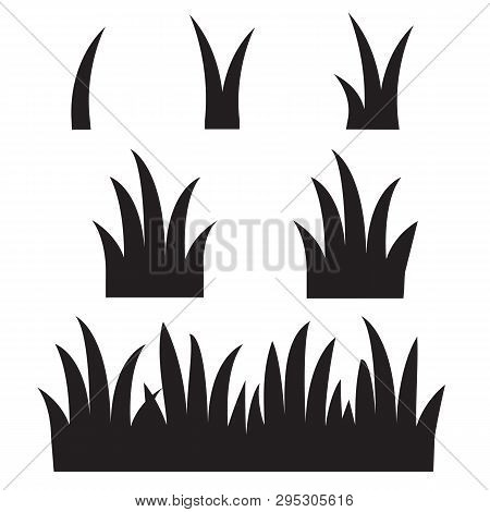 Grass Icon On White Background. Flat Style. Black Grass Silhouettes Icon For Your Web Site Design, L