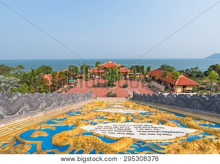 PHU QUOC ISLAND/ VIETNAM– March 17 2019::Sea view from Ho Quoc Pagoda, Kin Giang, Vietnam.