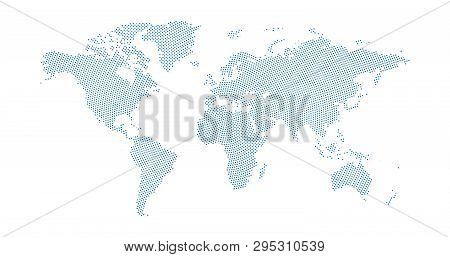 Black Halftone Circled Dotted Blue World Map. Vector Illustration. Dotted Map In Flat Design. Vector
