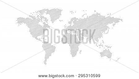 Black Halftone Triangle Dotted World Map. Vector Illustration. Dotted Map In Flat Design. Vector Ill