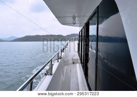Prow Of Travel Motor Boat Shifting On Sun Moon Lake In Taiwan