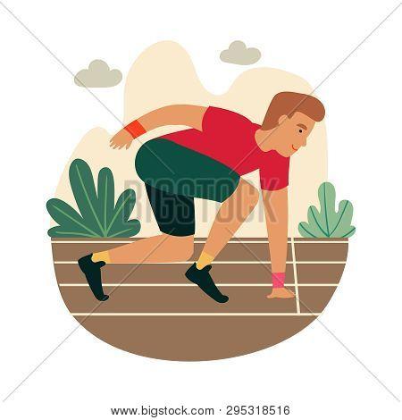 Cartoon Sprinter Ready To Sprint On Starting Line. Funny Guy Get Ready To Start Marathon. Athlete Ru