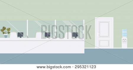 Bank Office Interior:bank Barrier With Glass And Door To Cabinet.elegant Interior Financial Institut