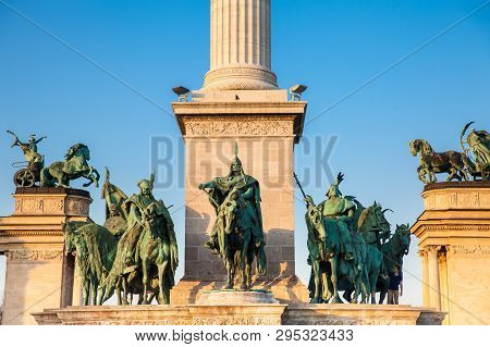 Statues Of The Seven Chieftains Of The Magyars At The Famous Heroes Square Built On 1896 In Budapest